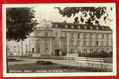 """Gdynia. Hotel """"Polska Riwiera"""" Wyd. morska Agencja Wydawnicza Gdynia Kartka wysłana 02.01.1938 do Rygi"""