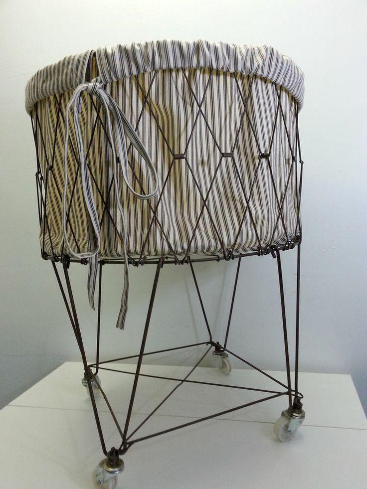 Pottery Barn French Wire Rolling Laundry Basket Hamper