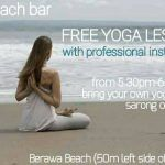 Free Yoga lesson every tuesday at eikon arboon beach bar @pantai berawa from 5.30 – 6.30