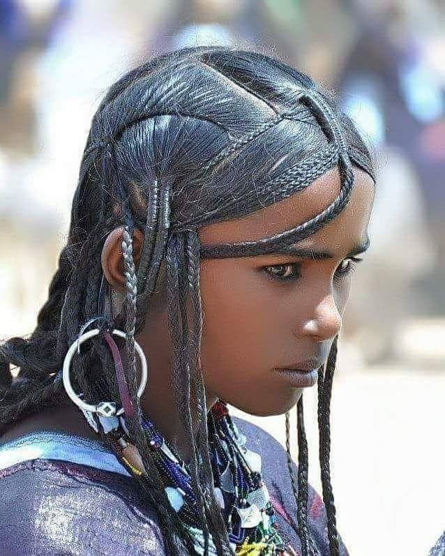Young Berber Tenerian Girl Sacred Libyan Haircut And