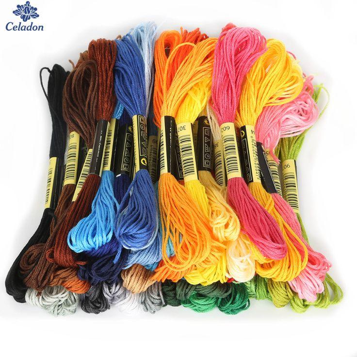 マルチ色8ピース/ロット7.5メートル長さ同様のdmcコットン刺繍スレッド用diyの縫製ツールアクセサリー