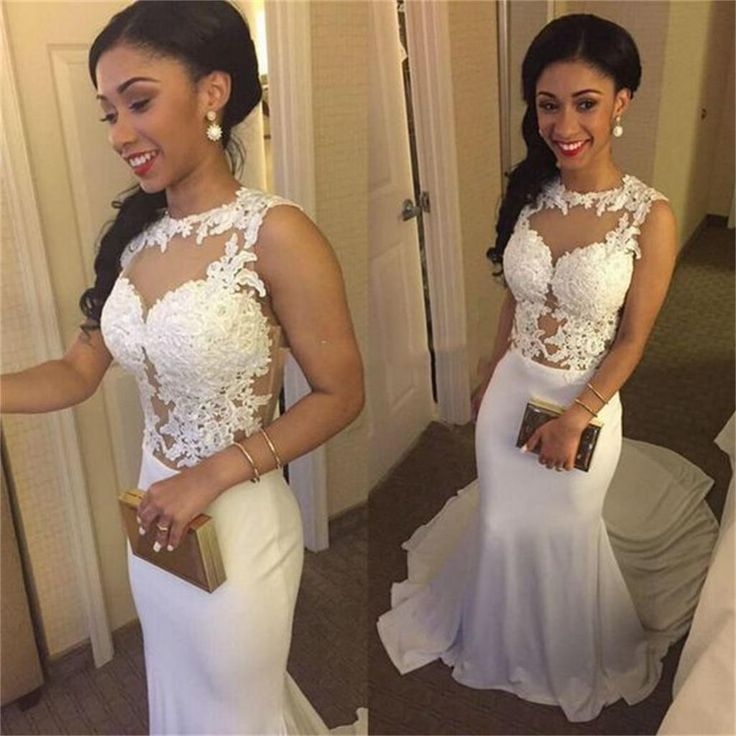 White and gold lace prom dresses 2018