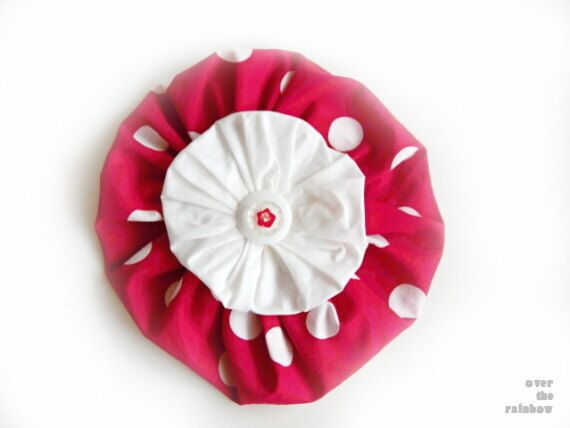 Large red and white flower brooch flower pin by KVFlamencoDesigns, $13.00