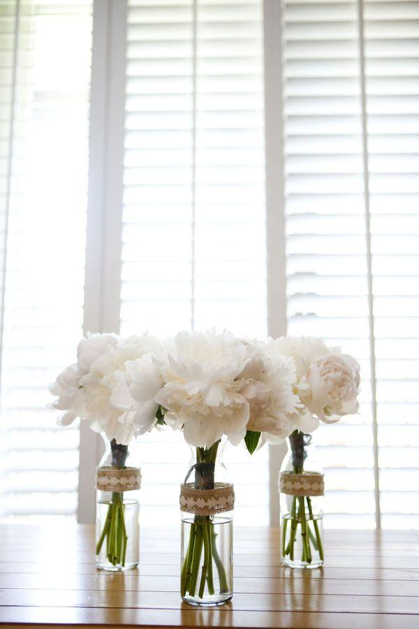 Simple white flower arrangements