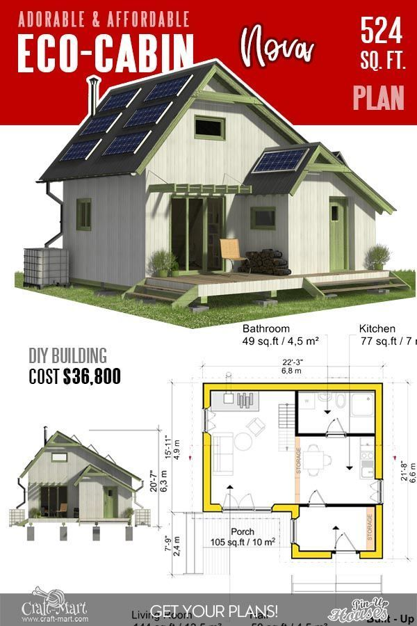 13 Best Small Cabin Plans With Cost To Build Craft Mart In 2020 Small Cabin Plans Eco House Plans Small Cabin