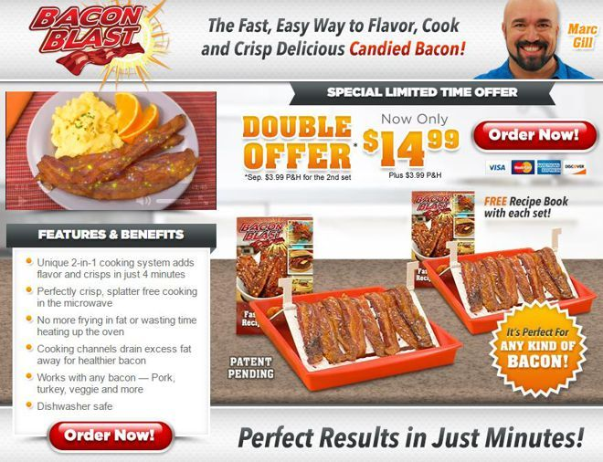 Bacon Blast is a microwave bacon tray which allows you to add flavor and crisp bacon in minutes. Read our Bacon Blast review.