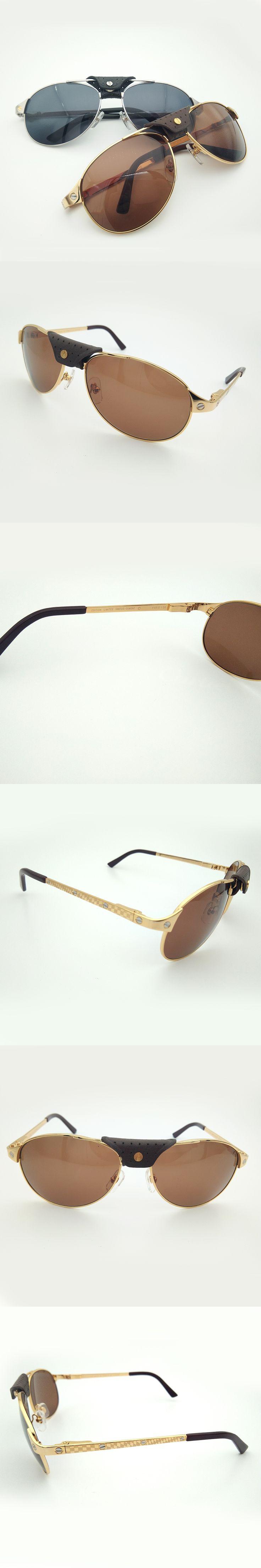Vintage Santos Aviator Sunglasses Men Luxury Eyewear Dumont Plaid Temples Metal Sunglasses for Driving Traveling Shades Men 456