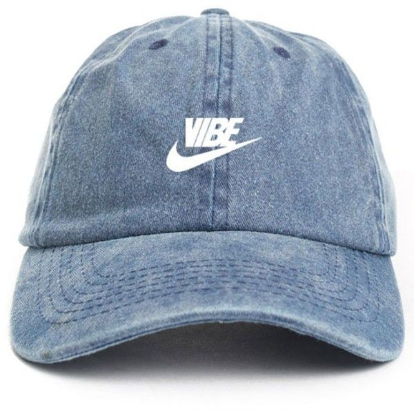 Just Vibe Swoosh Denim w/ White Dad Hat ($15) ❤ liked on Polyvore featuring accessories, hats, baseball caps, ball cap, denim baseball cap, white baseball cap and baseball caps hats
