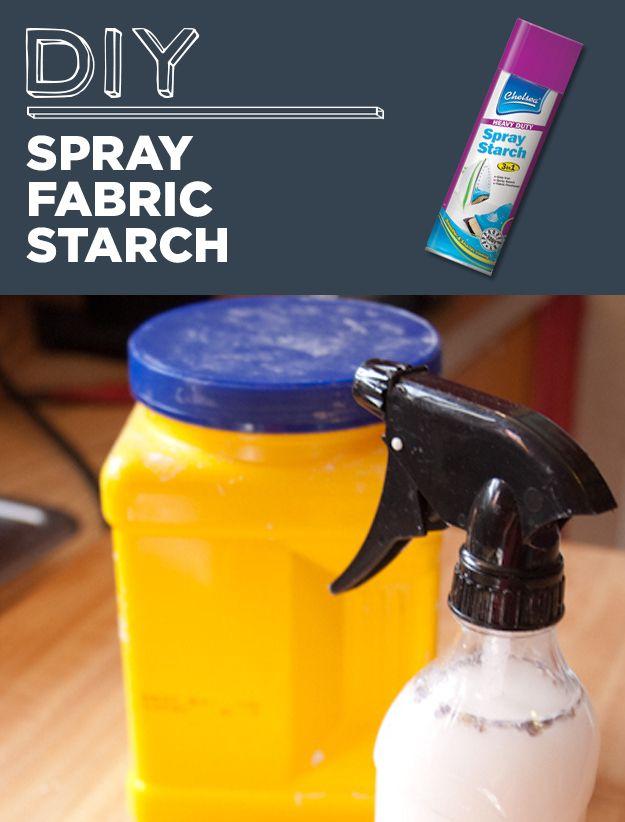 Goma caseira para roupas:Em uma garrafa de spray, misture 1 copo de água e duas colheres de chá de maisena.