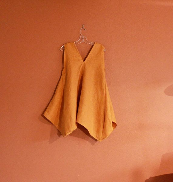 handmade to measure linen origami seam flare top on Etsy, $118.00