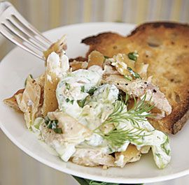 Smoked Trout Salad with Creamy Cucumbers, Scallions, and Dill: This super-springy starter comes together in minutes.