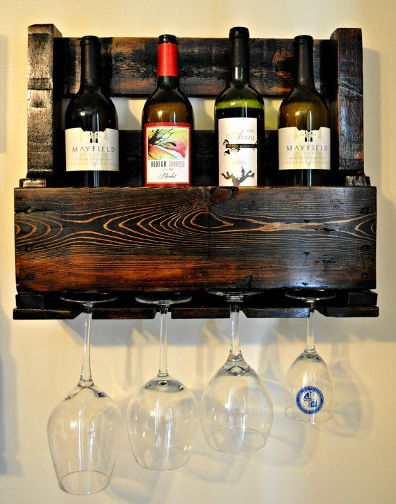 Reclaimed Wood 5 Bottle Wine Rack by TheKnottedWood on Etsy