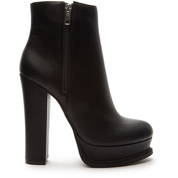 Forever 21 Women's  Faux Leather Platform Booties ($40) ❤ liked on Polyvore featuring shoes, boots, ankle booties, heels, ankle boots, footwear, high heel ankle boots, heeled ankle boots, high heel bootie and short boots