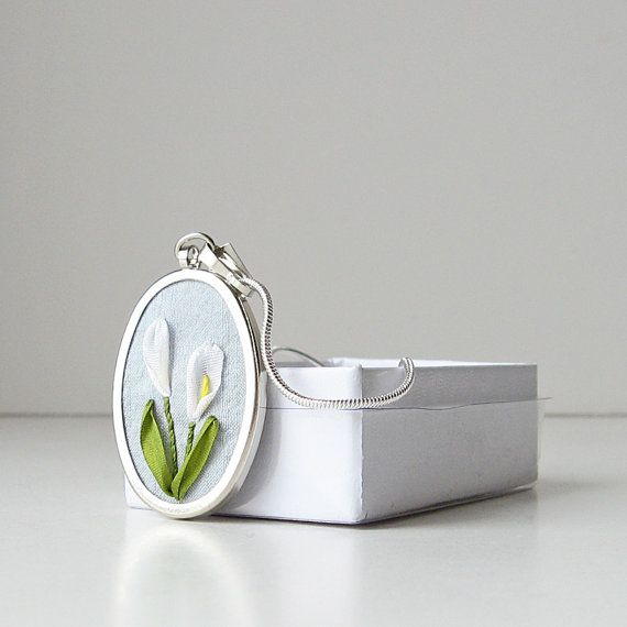 Calla lilies necklace Embroidered jewelry silk ribbon by bstudio