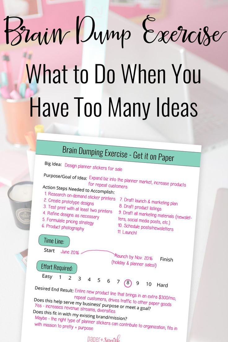 brain dump exercise and worksheet - how to handle all your ideas - from paper + spark