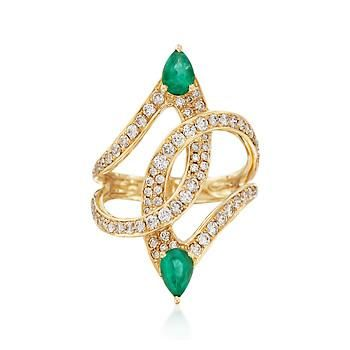 .70 ct. t.w. Emerald and .88 ct. t.w. Diamond Curves Ring in 18kt Yellow Gold