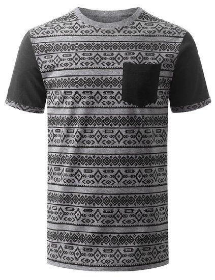 URBANCREWS Mens Hipster HAztec Graphic Print T-Shirt