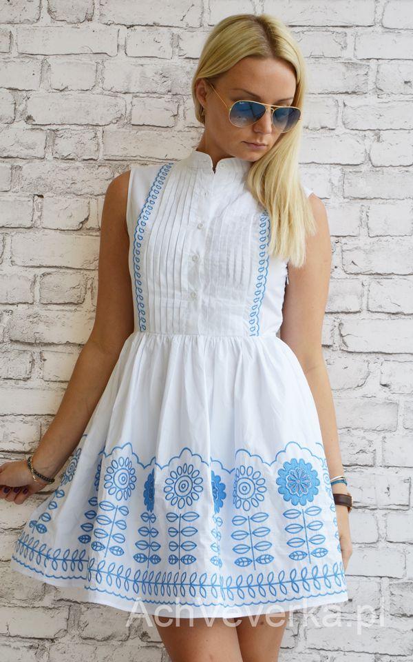Sukienka z plisami i haftem. AchVeverka.pl #sukienka #plisy #haft #niebieski #biała #biel #białasukienka #sukienkanawesele