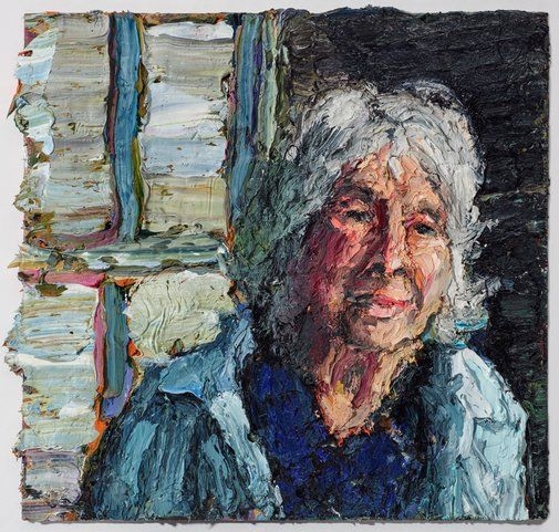 Ashley Frost: Janet Dawson at the doorway to her studio :: Archibald Prize 2017 :: Art Gallery NSW