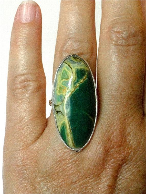 Vintage Art Nouveau Ring Green Jasper sterling silver $165.00