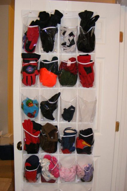 A great way to organize gloves & scarves.  This way you don't have to dig through a bin looking for something.