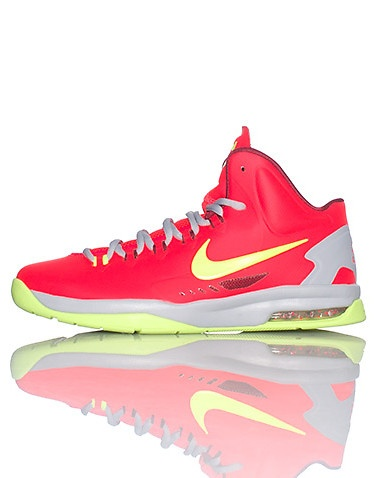 NIKE Kevin Durant High top kid\u0027s sneaker Lace closure Padded tongue with KD  logo Cushioned sole Mesh detail Neon red and green color with grey mids\u2026