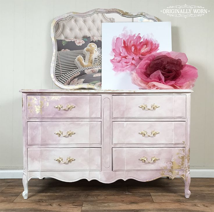 Pink watercolor french provincial dresser. Painted in Chalk Paint® by Annie Sloan in Pure White, Antoinette, Henrietta, and Gold leaf. By Originally Worn