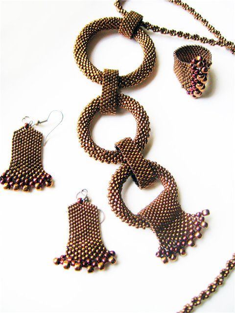** Bead Woven Golden Brown Bracelet, Ring, Earrings, & Pendant Jewelry @biser