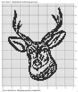 Free Filet Crochet Charts and Patterns: Filet Crochet Deer - Chart 1