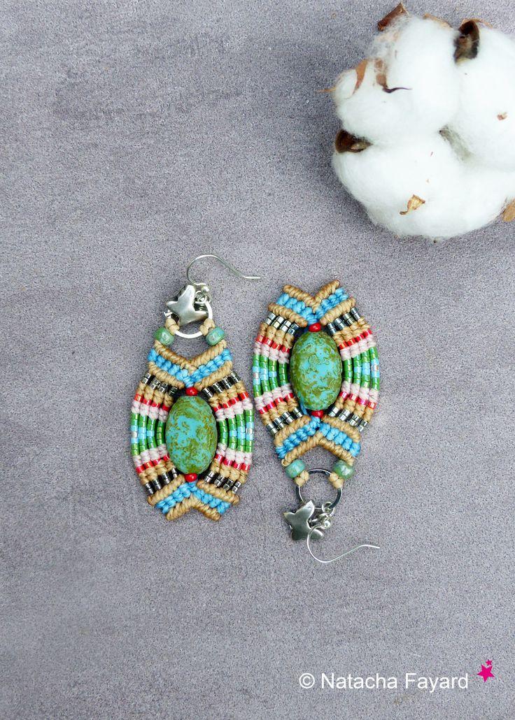 Boho chic micro macrame earrings / french designer jewelry / Made in France. © Natacha Fayard