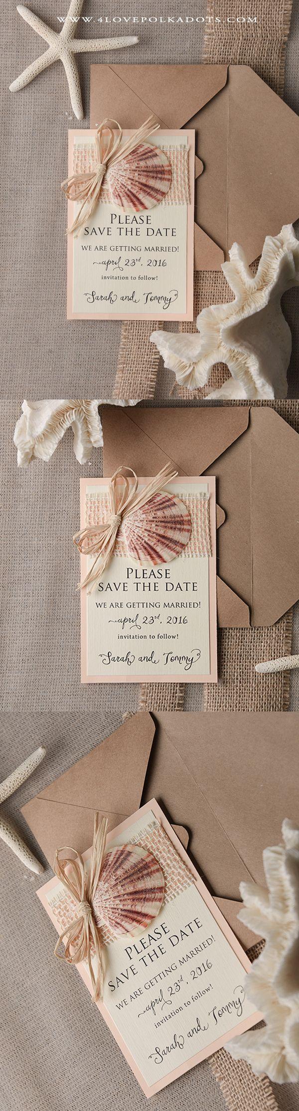destination wedding save the dates and invitations%0A Wedding Beach Save the Date Card  beachwedding  destinationwedding   seashell  sea