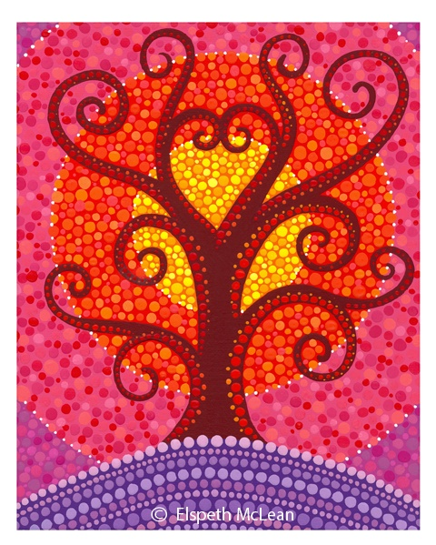 Heart Engery Radiating Tree by Elspeth McLean #love #heart #valentinesday #tree