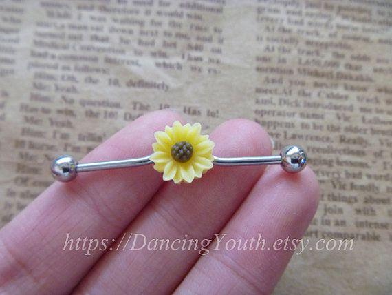 Beatiful Daisy Flower industrial barbell, Industrial Barbell, piercing,industrial barbell earring jewelry, on Etsy, $7.59