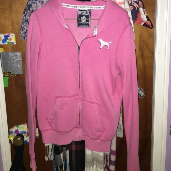 Pink Zip Up Hoodie Zip Up Hoodie from Pink barely worn with a hood & pockets. I am willing to trade or lower price! PINK Victoria's Secret Other