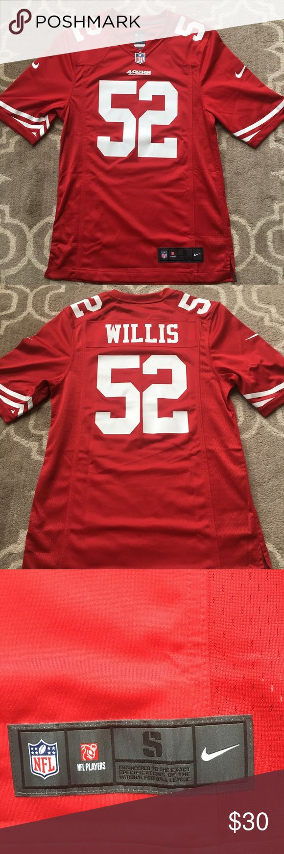 Authentic Nike NFL SF 49ers Willis Jersey My husband purchased and pulled the tags off but realized it was just a little tighter than he likes. Smoke free/pet free home. Nike Shirts