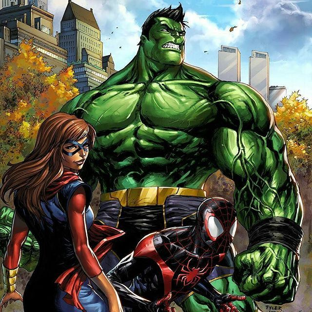 The full #Marvel #CHAMPIONS variant cover #totallyawesome #hulk #msmarvel #spiderman. #hulk #msmarvel #spiderman