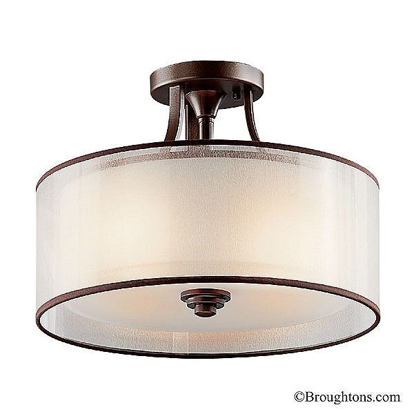 Kichler lacey small semi flush light mission bronze