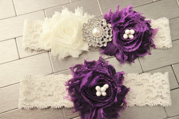 Purple Wedding Garter Set - Royal Purple Bridal Garters, Pearl & Rhinestone Bling, White or Ivory Stretch Lace Garder Bands, Bridal Lingere