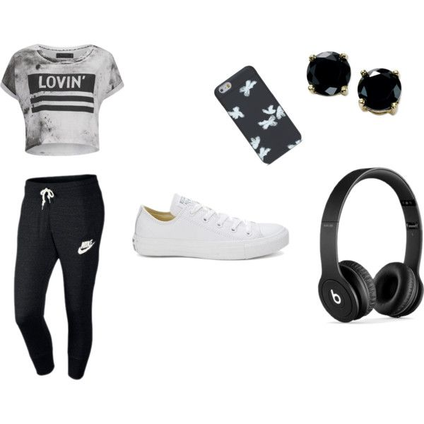 Sans titre #9 by louise-gourci on Polyvore featuring mode, Religion Clothing, NIKE, Converse, B. Brilliant and Beats by Dr. Dre