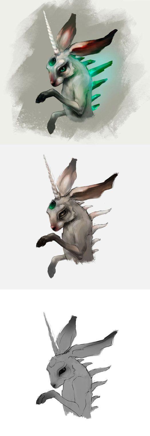 bunny process  #art #bunny #digitalart #digitalpainting #rabbit #sketch