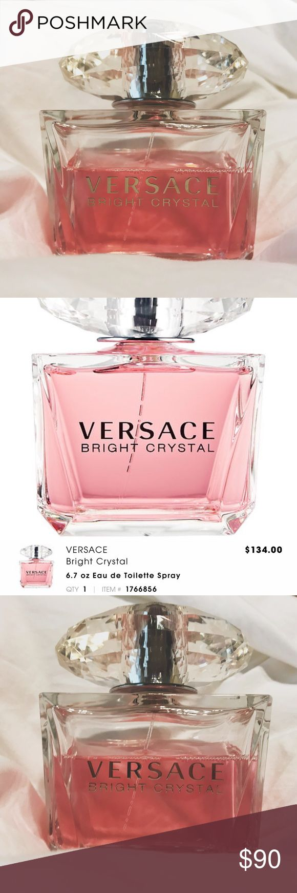 Versace Bright Crystal 6.7 oz XL Eau de Toilette About 1/3 of the way used, approx. 2/3 left. Purchased from Sephora. Versace Makeup