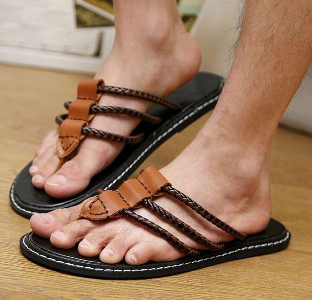 Korean Mens Flip Flops Slip On Loafers Non-slip Thongs Casual Beach Shoes  #other #FlipFlops
