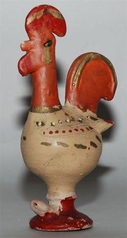 Uma história natural do Galo de Barcelos. Protogalo tirado na roda de oleiro. Forma e pintura arcaicas. Década de 1930? (fotografia do Museu de Olaria de Barcelos)