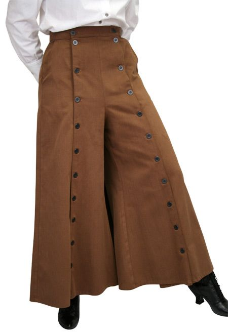 Annie Oakley would have loved this split skirt ideal for riding. Full cut, and made of the softest brushed twill so it's comfortable to wear but full of style. Features a double row of metallic buttons that hold a fold of cloth open for riding. But when you want a full skirt look, just open the pleat.    Imported. 100% cotton. Dry clean or machine wash cold. Availabe in sizes 4-20.