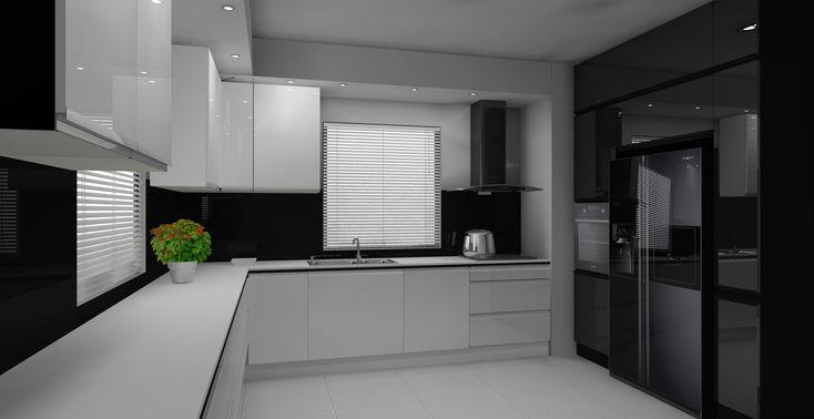 Projekt biało czarnej kuchni w stylu nowoczesnym Zabudowa   -> Kuchnia Angielska Do Sufitu