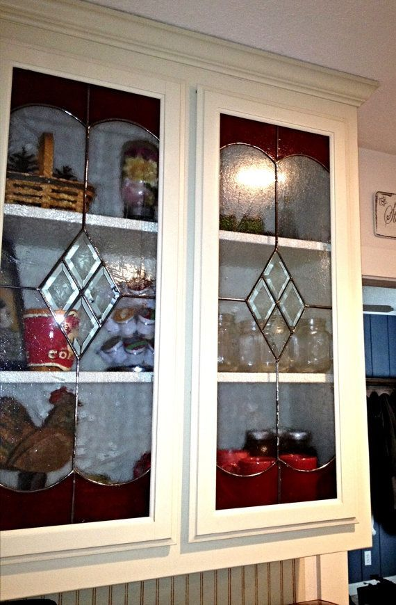 Leaded Glass In The Kitchen Cabinet Diamond Bevels In The Center