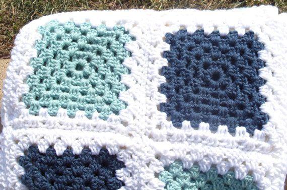 Ganchillo afgano azul verde blanco Plaza/abuela abuela