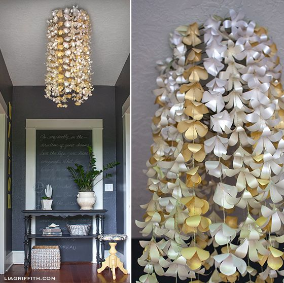 Paper Flower Entry Chandelier. Tutorial and pattern @LiaGriffith.com #lightningideas @papercarft