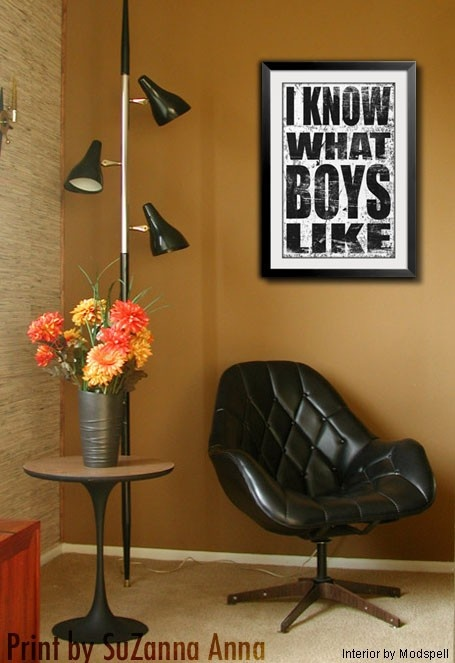 80s Music Lyric Print - I Know What Boys Like