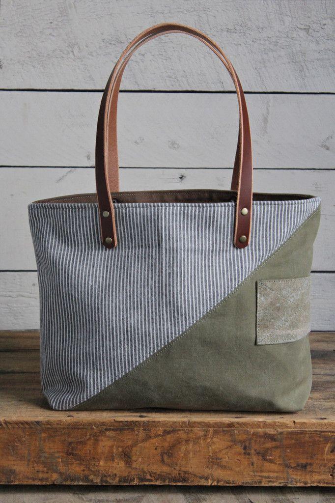 WWII era Canvas & 1950's era Striped Cotton Tote Bag